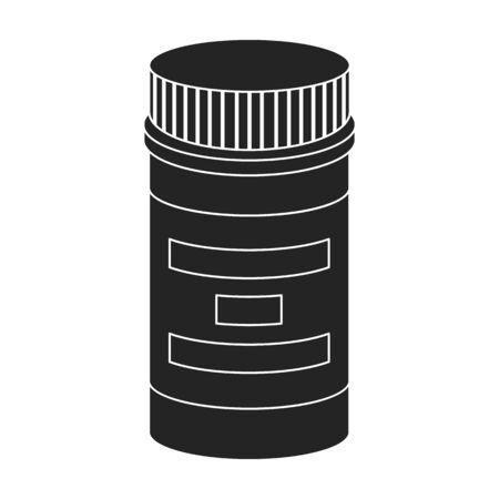 overdose: Prescription bottle icon in black style isolated on white background. Drugs symbol vector illustration.