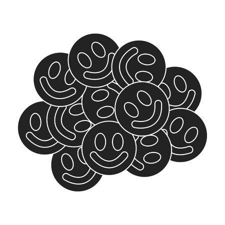 methamphetamine: Ecstasy icon in black style isolated on white background. Drugs symbol vector illustration.