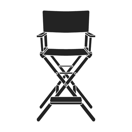 director's chair: Directors chair icon in black style isolated on white background. Films and cinema symbol vector illustration.