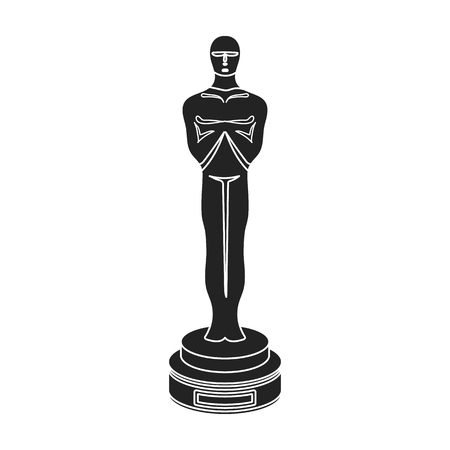 Academy award icon in black style isolated on white background. Films and cinema symbol vector illustration.