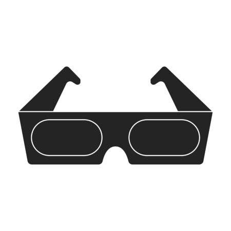 Anaglyph 3D glasses icon in black style isolated on white background. Films and cinema symbol vector illustration.