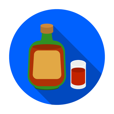 liqueur: Herbal liqueur icon in flat style isolated on white background. Alcohol symbol vector illustration.