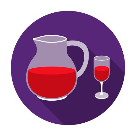 sangria: Sangria icon in flat style isolated on white background. Alcohol symbol vector illustration. Illustration