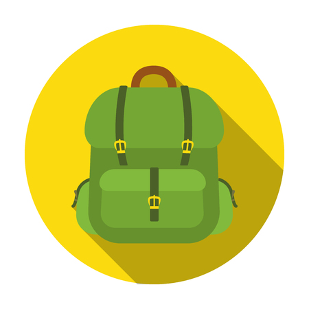 Hunting backpack icon in flat style isolated on white background. Hunting symbol vector illustration.