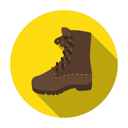 Combat boots icon in flat style isolated on white background. Hunting symbol vector illustration.