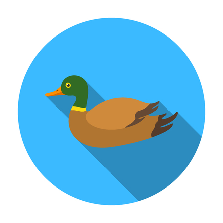 goose flesh: Duck icon in flat style isolated on white background. Hunting symbol vector illustration. Illustration