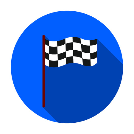 Checkered flag icon in flat style isolated on white background. Sport and fitness symbol vector illustration.