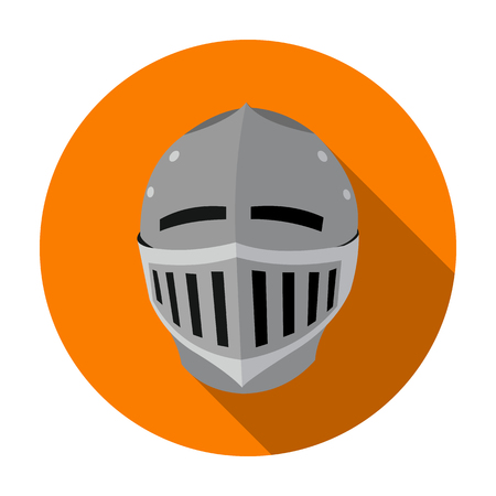 Medieval helmet icon in flat style isolated on white background. Weapon symbol vector illustration.