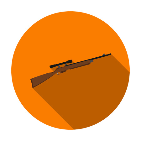 Sniper rifle icon in flat style isolated on white background. Weapon symbol vector illustration. Illustration