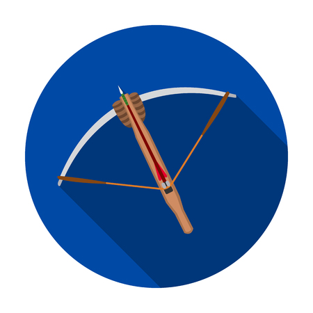 Crossbow icon in flat style isolated on white background. Weapon symbol vector illustration. Illustration