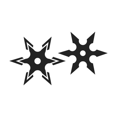 Metal shuriken icon in black style isolated on white background. Weapon symbol vector illustration.