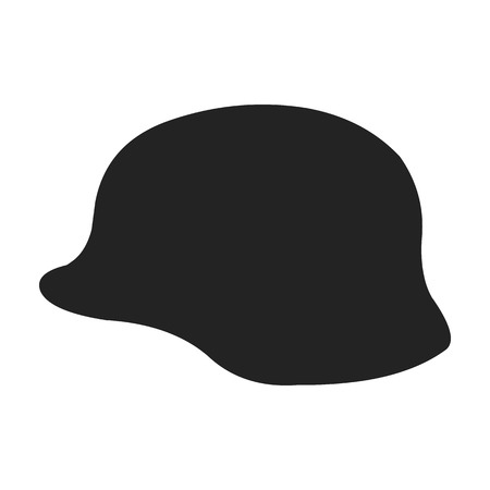 Military helmet icon in black style isolated on white background. Weapon symbol vector illustration.