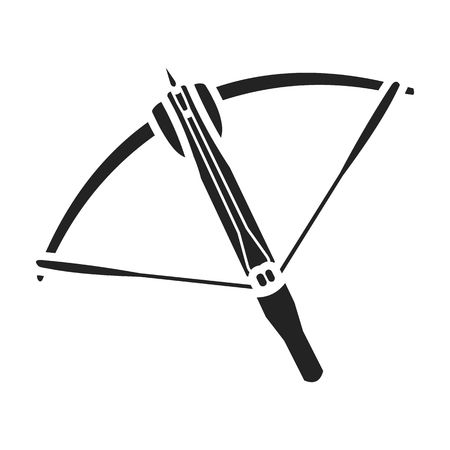 Crossbow icon in black style isolated on white background. Weapon symbol vector illustration. Illustration
