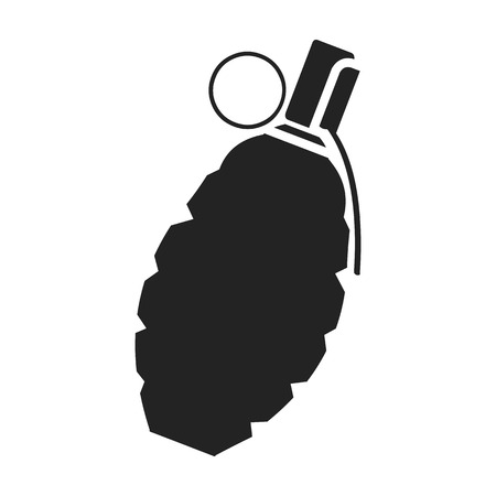 Grenade icon in black style isolated on white background. Weapon symbol vector illustration.