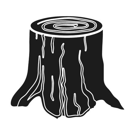 白い背景に分離された黒のスタイルで木の切り株アイコン。製材と木材株式ベクトル図のシンボルです。  イラスト・ベクター素材
