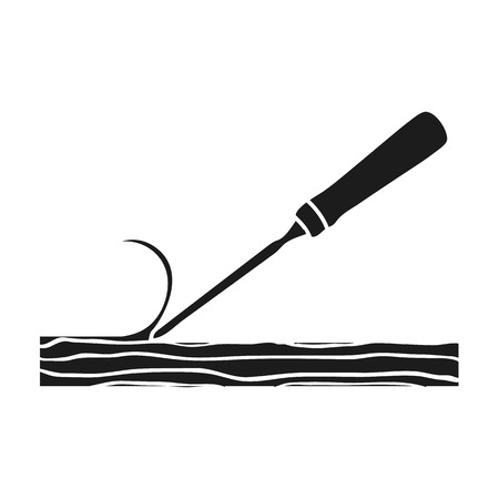 carver: Chisel icon in black style isolated on white background. Sawmill and timber symbol vector illustration. Illustration