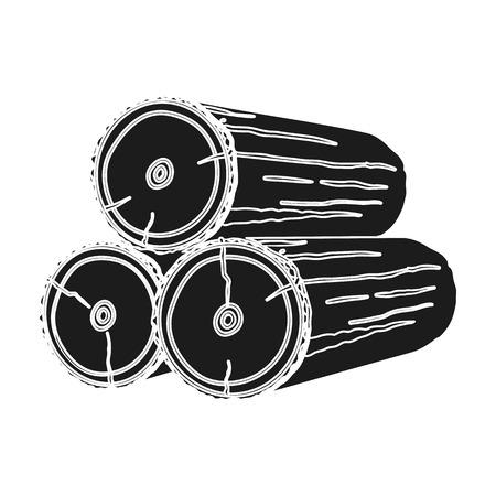 Pile de journaux icône dans le style noir isolé sur fond blanc. Sawmill et symbole de bois illustration vectorielle.