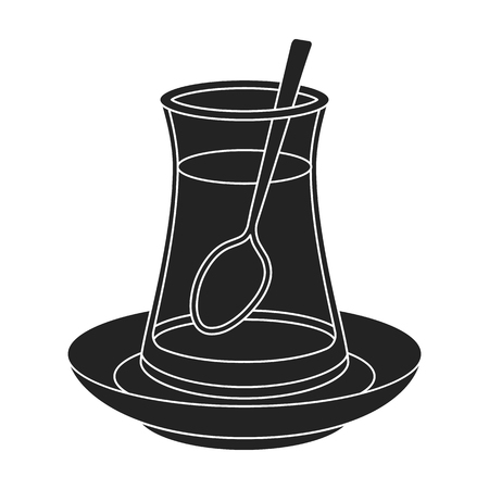 Turkish tea icon in black style isolated on white background. Turkey symbol vector illustration. Illustration