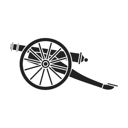battlefield: Cannon icon in black style isolated on white background. Museum symbol vector illustration.