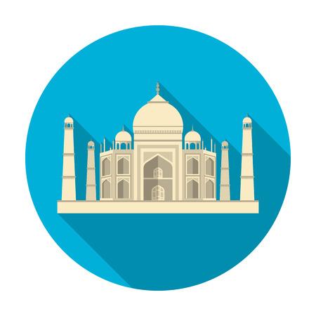 Taj Mahal icon in flat style isolated on white background. India symbol vector illustration. Illustration