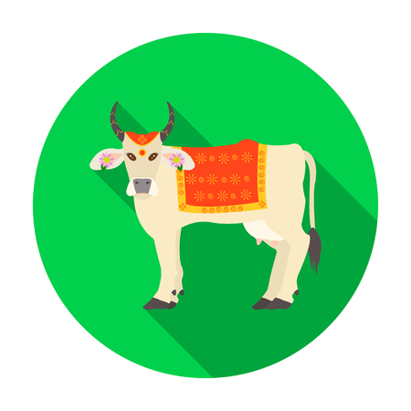 Sacred cow icon in flat style isolated on white background. India symbol vector illustration.