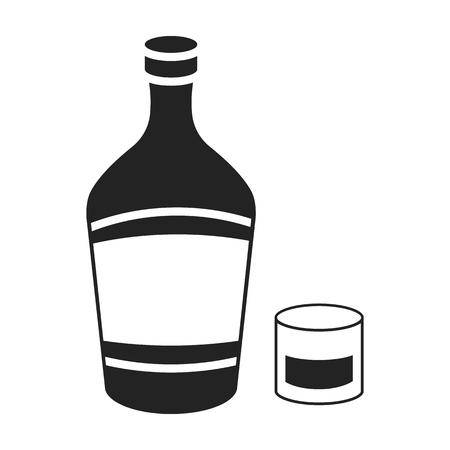 liqueur: Liqueur icon in black style isolated on white background. Alcohol symbol vector illustration.