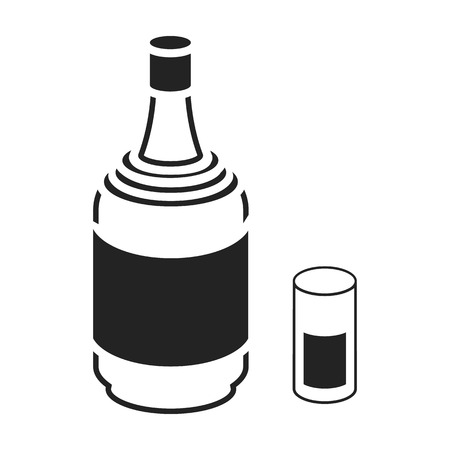 gin: Gin icon in black style isolated on white background. Alcohol symbol vector illustration. Illustration