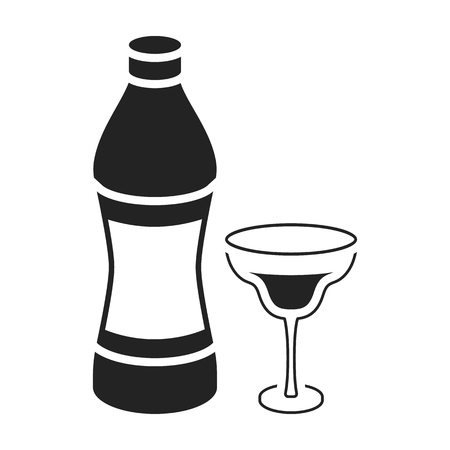vermouth: Vermouth icon in black style isolated on white background. Alcohol symbol vector illustration.