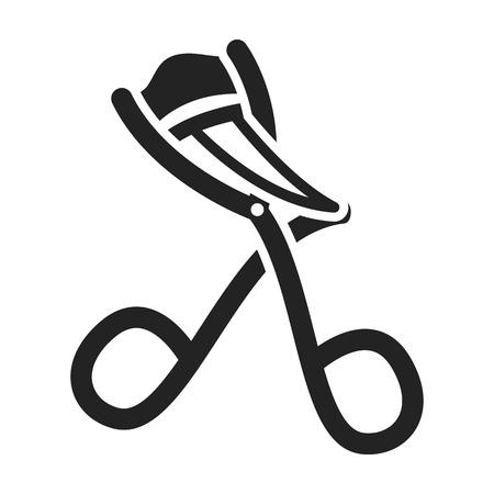 Eyelash curler icon in black style isolated on white background. Hairdressery symbol vector illustration.