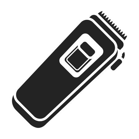 Elektrische trimmer pictogram in zwarte stijl geïsoleerd op een witte achtergrond. Hairdressery symbool vectorillustratie. Vector Illustratie