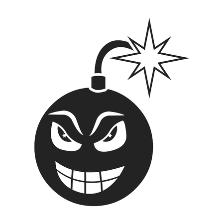 groupe: Bomb virus icon in black style isolated on white background. Personal computer symbol vector illustration.