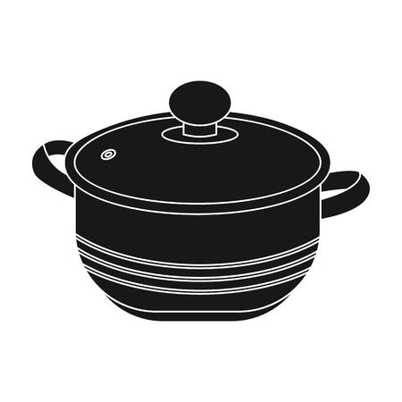 stockpot: Stockpot icon in black style isolated on white background. Kitchen symbol vector illustration.