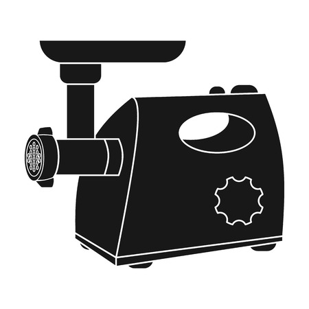 meat grinder: Electical meat grinder icon in black style isolated on white background. Kitchen symbol vector illustration. Illustration