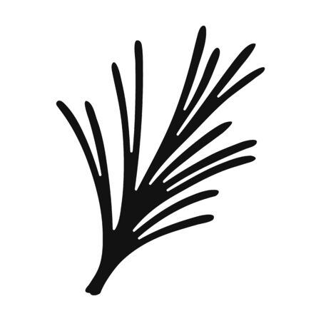 Rosemary icon in black style isolated on white background. Herb an spices symbol vector illustration. Illustration