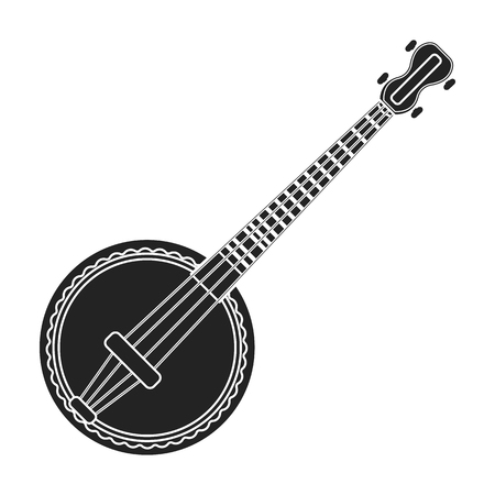 resonator: Banjo icon in black style isolated on white background. Musical instruments symbol vector illustration Illustration