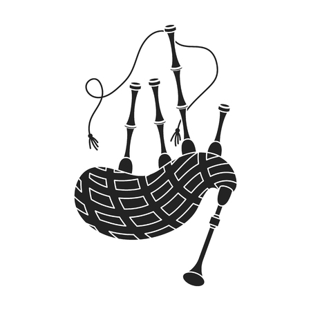Bagpipes icon in black style isolated on white background. Musical instruments symbol vector illustration Иллюстрация