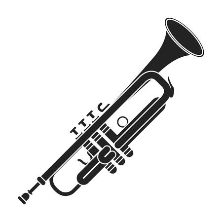 Icône de la trompette dans un style noir isolé sur fond blanc. Instruments de musique symbole illustration vectorielle