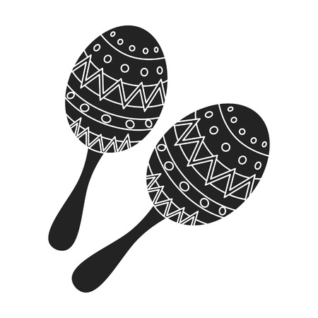 Maracas icon in black style isolated on white background. Musical instruments symbol vector illustration