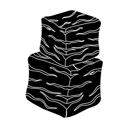 En cubitos icono de la carne de vacuno en el estilo de negro sobre fondo blanco. ilustración vectorial símbolo carnes Foto de archivo - 68624046