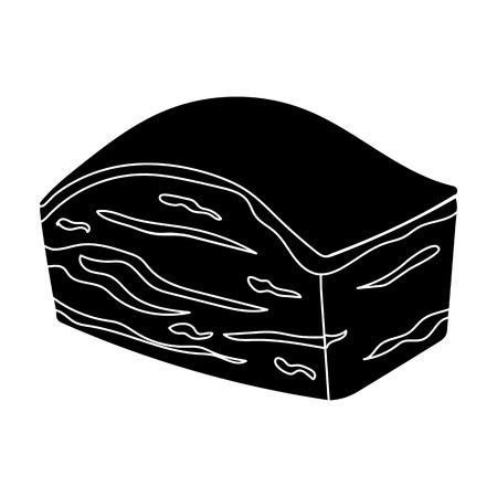 Varkensbout icoon in zwarte stijl geïsoleerd op een witte achtergrond. Vlees symbool vector illustratie