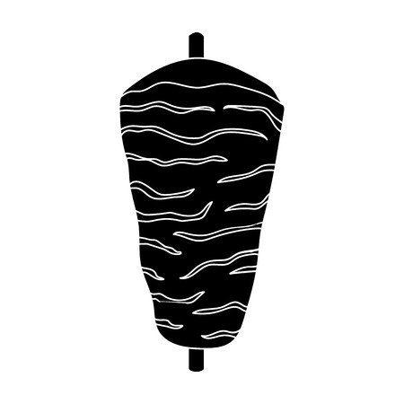 Doner kebab icon in black style isolated on white background. Meats symbol vector illustration