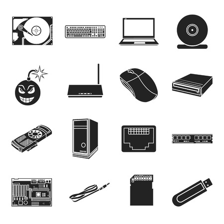 optical disk: Personal computer set icons in black style. Big collection of personal computer vector symbol stock