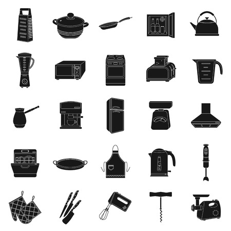 stockpot: Kitchen set icons in black style. Big collection of kitchen vector symbol stock