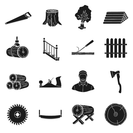 simple cross section: Sawmil and timber set icons in black style. Big collection of sawmill and timber vector symbol stock Illustration