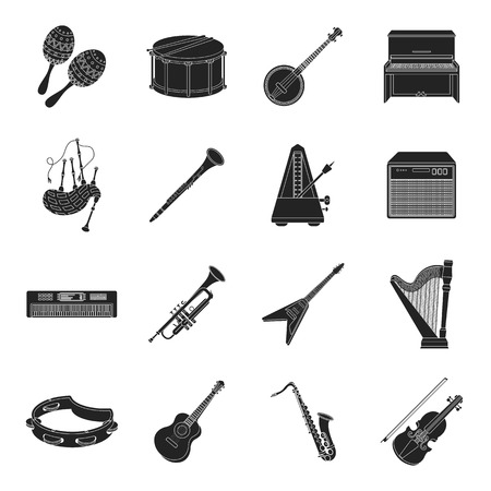 gaita: Musical instruments set icons in black style. Big collection of musical instruments vector symbol stock
