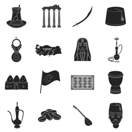 saz: Turkey set icons in black style. Big collection of Turkey vector symbol stock