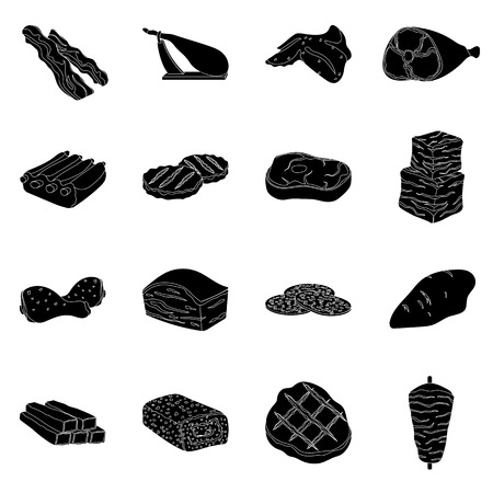 patties: Meats set icons in black style. Big collection of meats vector symbol stock Illustration