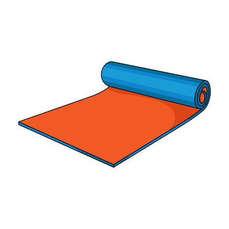 floor mat: Fitness mat icon in cartoon style isolated on white background. Sport and fitness symbol vector illustration.