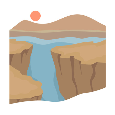 canyon: Grand Canyon icon in cartoon style isolated on white background. USA country symbol vector illustration. Illustration
