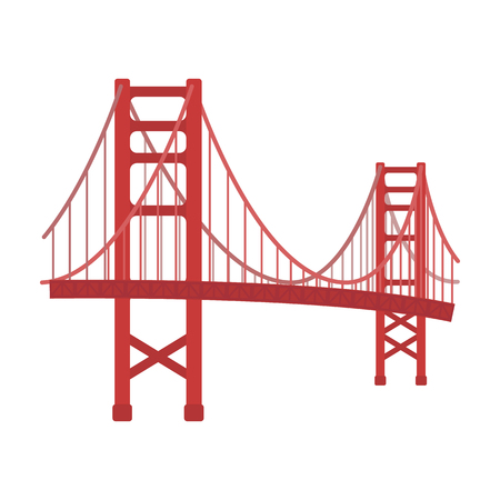 Golden Gate Bridge icon in cartoon style isolated on white background. USA country symbol vector illustration. Vettoriali